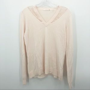 T Tahari | Peachy Pink Pullover Lace Panel Sweater